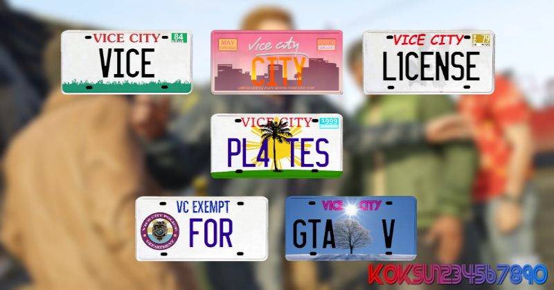 License plates from GTA Vice City for GTA 5